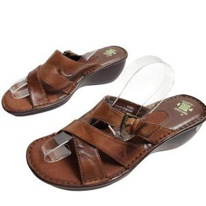 Earth Origins Erica Leather Sandals Almond Brown